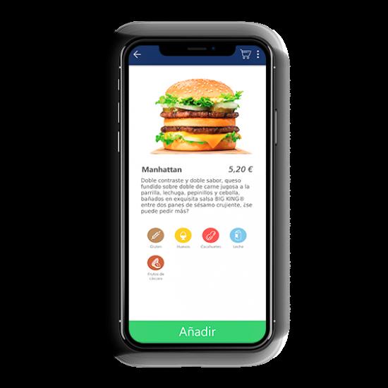 Telefono movil con la aplicacion click and collect and delivery de ICG Software