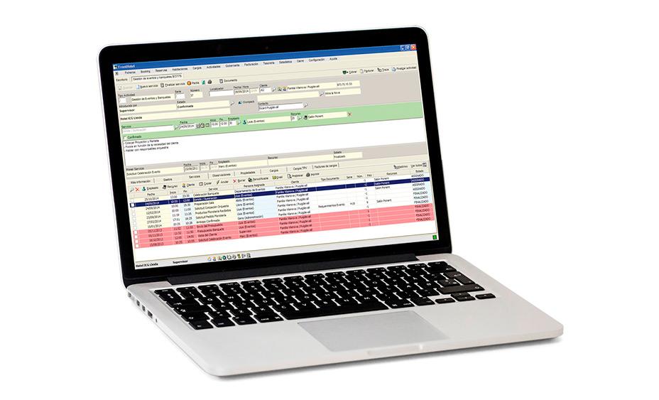 Portatil funcionando con el software PMS de ICG